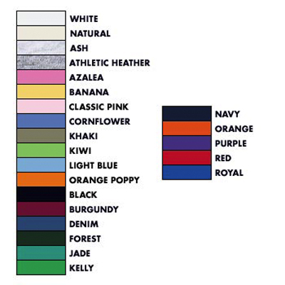 Fruit Of The Loom Color Chart Specialty Cap